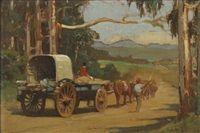 Ox wagon scene by Walter Gilbert Wiles