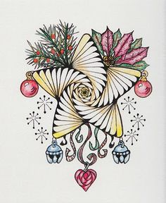 The NEW Ramblings of a Creative Mind: Happy Holidays and Wishes to All; A Zentangle Christmas card