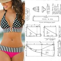 Opis fotky nie je k dispozícii Sewing Pants, Sewing Clothes, Diy Clothes, Swimsuit Pattern, Bra Pattern, Dress Sewing Patterns, Clothing Patterns, Motif Bikini, Sewing Slippers