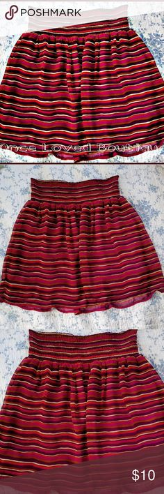 """Old Navy Smocked-Waist Circle Skirt Old Navy Striped Chiffon Skirt 100% Polyester Fully Lined underneath Elastic Waist band  Sits about mid thigh depending on height Size Medium  8/10 Waist 28/29"""" Hip 39/40"""" Color Maroon/Wine Red Tan  Perfect Condition No Damages Old Navy Skirts"""