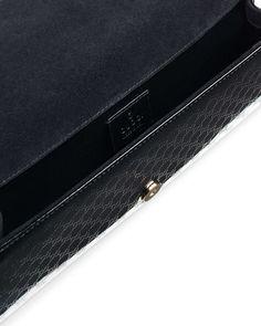 Broadway Microguccissima Patent Leather Evening Clutch, Black