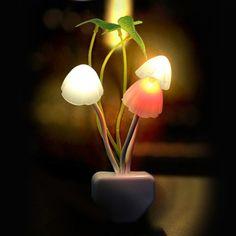 Mushroom Fungus Night Light Sensor 3 LED Colorful Mushroom Lamp L Unique Night Lights, Led Night Light, Romantic Lights, Mushroom Lights, White Leaf, Bedside Lamp, Desk Lamp, Night Lamps, Light Sensor