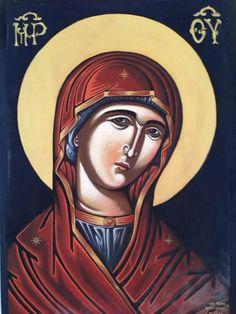 """Δια χειρός Χαράλαμπος κ' Φλώρα """"Μήτηρ Θεού """" """"Mother of God"""" Egg tempera on wood. 39 x 50"""
