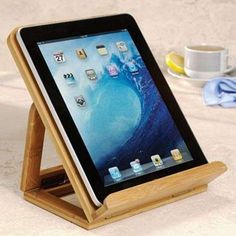 Levenger Nantucket iPad Stand - Feel like an artist using the Levenger Nantucket iPad Stand, a prop that mounts your tablet like a painter's easel.   The wooden stand lets yo...