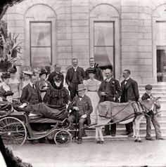 This is Lady Waterford (front left), in what may have been a specially designed invalid carriage, with members of the Beresford family and other guests at Curraghmore House, Portlaw, Co. Great Photos, Old Photos, Vintage Photos, Ireland Vacation, Ireland Travel, British Nobility, Images Of Ireland, Victorian Life, Kingdom Of Great Britain