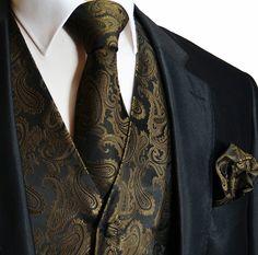black tuxedo with champagne vest | Brown Paisley Tuxedo Vest Set (Q20-Q)