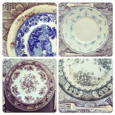 #mix #vintage #borddekking #table setting Table Settings, Porcelain, Plates, Tableware, Instagram Posts, Vintage, Licence Plates, Porcelain Ceramics, Dishes