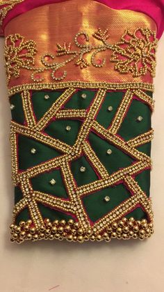 What Zardozi Embroidery Designs Work Blouse Dresses Is - and What it Is Not - Zardozi Embroidery, Embroidery Works, Hand Embroidery Designs, Embroidery Stitches, Simple Embroidery, Flower Embroidery, Cut Work Blouse, Hand Work Blouse Design, Aari Work Blouse