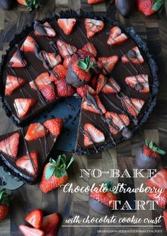 No-Bake Chocolate Strawberry Tart with Chocolate Cookie Crust! An easy and impressive splurge-worthy dessert for Valentine's Day or to satisfy your inner chocoholic! | homeiswheretheboatis.net