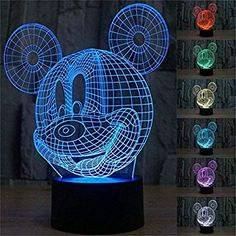 Mickey Mouse LED Night Light Touch Table Desk Lamp for Kids Gift Elstey 7 Colors Optical Illusion Lights with Acrylic Flat ABS Base USB Charger * Find out more about the great product at the image link. Desk Light, Light Table, Lamp Light, Mickey Mouse Table, Mickey Head, Disney Mickey, Lampe 3d, Amazing Optical Illusions, Led Night Light