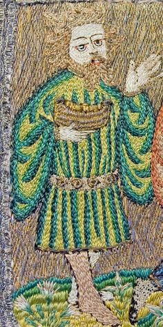 The Towneley Chasuble - the adoration of the kings - the young king is dressed in fashionable clothes of the early 15th century.