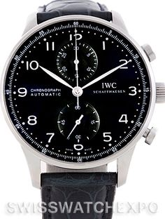 IWC Portuguese Chrono Automatic Steel Mens Watch model IW371447 - A traditional ageless design based on the first Portuguese watches introduced in the 1930s.