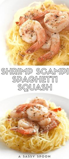 Sautéed shrimp tossed in a quick and easy garlic, red pepper flakes, parsley, white wine, and butter sauce on top of spaghetti squash. via @asassyspoon