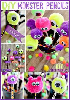 Craft ~ DIY Monster Pencils Halloween Adorable Monster Pencils and Free Printable at Perfect for School Classmates!Halloween Adorable Monster Pencils and Free Printable at Perfect for School Classmates! Monster Party, Monster Birthday Parties, Halloween Class Party, Holidays Halloween, Halloween Crafts, Halloween Clothes, Costume Halloween, Halloween Makeup, Kindergarten Halloween Party