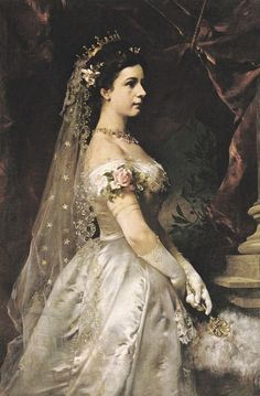 "Portrait by unknown artist of Empress Elisabeth ""Sissi"" (Elisabeth Amalie Eugenie) Dec Sep Bavaria. Sissi was the wife of Emperor Franz Joseph I Aug Nov Austria. Empress Sissi, Elisabeth I, Kaiser Franz, Reine Victoria, Court Dresses, Royal House, Royal Weddings, Royal Brides, Woman Painting"