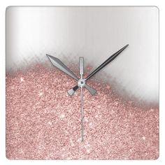 Rose Pink Glitter Silver Gray Minimal Metallic Square Wall Clock - pink gifts style ideas cyo unique