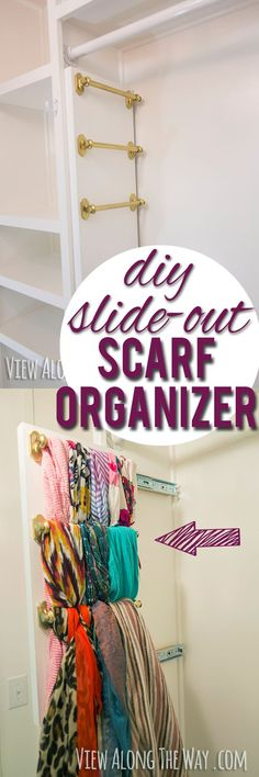 Every girl needs this! Brilliant way to hang your scarves - it slides out!: