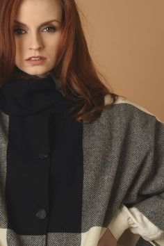 The combination of the Black & White wool with our herringbone pattern gives a timeless feel. Made in Donegal, Ireland. Wool Cape, Capes For Women, Donegal, Herringbone Pattern, Shawls, Tweed, Ireland, Women Wear, Turtle Neck