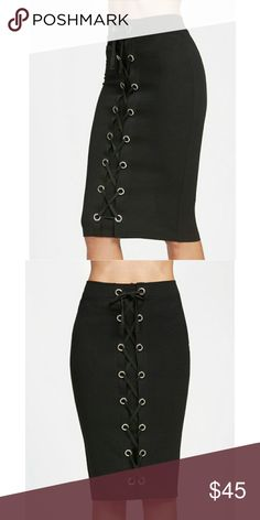 🎉🎉SALE🎉🎉 🆕ARRIVAL 🌿🌱KEYHOLE PENCIL SKIRT 🌿PRICE FIRM🌿 10% OFF ON BUNDLES OF 2+ ITEMS! 🌿  BLACK KEYHOLE LACE UP PENCIL SKIRT. POLYESTER. STRETCHY FABRIC. Skirts