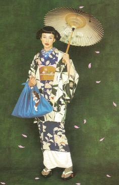 Kimono-hime issue Fashion shoot page Via Satomi Grim Japanese Geisha, Japanese Beauty, Japanese Kimono, Furisode Kimono, Yukata, Traditional Kimono, Traditional Outfits, Cute Kimonos, Modern Kimono