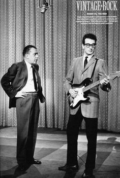 The immortal Buddy Holly on the Ed Sullivan show. People don't often realize the Rock n Roll pioneer that was Buddy. Rock And Roll, The Rock, 50s Music, Music Icon, Jimi Hendrix, Alter Ego, Genre Musical, Ritchie Valens, The Ed Sullivan Show