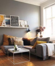 Grey walls. Living room...like the yellow too.