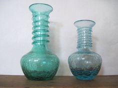 vintage mid century blue crackle ART GLASS bud vase with by cammoo