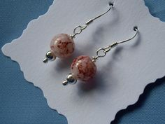 Sterling Silver Earrings, White and Tan Mottled Glass Beads