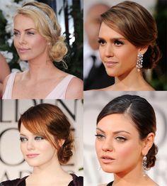 Golden-Globes hairstyles; romantic. Charlize Theron, Jessica Alba, Mila Kunis, Emma Stone. Fabulous diamonds!