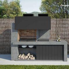 Modern Outdoor Kitchen, Outdoor Kitchen Plans, Backyard Kitchen, Modern Backyard, Outdoor Kitchens, Barbecue Garden, Outdoor Barbeque, Pizza Oven Outdoor, Design Barbecue