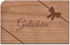 Holzpost, Grußkarte Gutschein aus echtem Kirschbaumholz 14x9cm inkl. DIN C6 Umschlag   G239