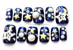 Perfect for my Celestial addiction! 3D Nail Designs For Short Nails - LoveItSoMuch.com