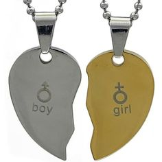 Kalung Couple SilverGold Sign Dog Tags, Dog Tag Necklace, Signs, Couples, Jewelry, Jewlery, Jewerly, Shop Signs, Schmuck