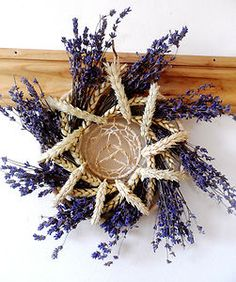 Lammas Wheat Lavender Sun God & Goddess Sun Wheel Wreath. Handmade Original