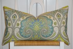 KRAVET - Decorative Pillow Cover - 12 x 21 - Aqua - Lime Green - Light Blue - Paisley - Ikat on Etsy, $39.00