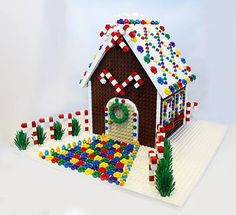 LEGO holiday Christmas gingerbread house created by LEGOLAND Discovery Center Chicago