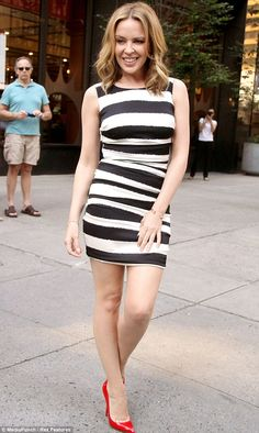 Showing off her stripes: Kylie Minogue continues her fashion parade in New York as she shows off her legs in mini-dress and red heels Melbourne, Dannii Minogue, Glamour, Celebs, Celebrities, Lady, Beautiful Outfits, Beautiful Women, Sexy Dresses