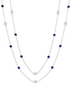 e7ea3b0b19a7 Crislu Bezel Set Sapphire and Clear CZ Chain Necklace