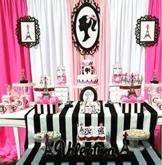 Ideas, decoración y manualidades para fiestas: Fiesta temática de Barbie moda en París Barbie Theme Party, Paris Themed Birthday Party, Barbie Birthday Party, Pink Birthday Cakes, Birthday Party Snacks, Barbie Decorations, Paris Party Decorations, Barbie Paris, Barbie Vintage