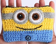 Minion crochet wallet with two compartments personalizable Finished item Ready to ship