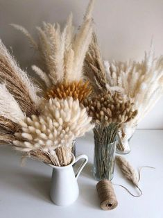 bohemian decor diy PAMPAS GRASS Bar of Dried Grasses Complete 4 types set - White Natural Cortaderia Selloana Wedding Table Decor Centerpiece Bohemian Decor Grass Centerpiece, Centerpiece Decorations, Wedding Centerpieces, Wedding Tables, Table Centerpieces, Wedding Decor, Rustic Wedding, Fall Flowers, Dried Flowers