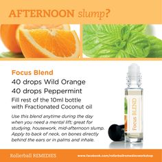Afternoon slump? Grab your Focus Blend. Rollerball Remedies Make & Take Workshop Kits are available at www.myoilbusiness.com, www.aromatools.com & www.essentialoilgear.com. Like our Facebook page at: https://www.facebook.com/rollerballremediesworkshop