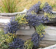 Lavender and Chamomile Wreath. I need to try to make one of these this year since I have chamomile and lavender in my garden.