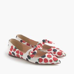 Tie-front flats in berry print