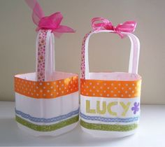 Baskets from milk jugs!! Use anything to decorate them!! Fabric, ribbon, pretty duct tape... Etc. too cute!