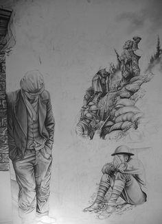 pencil drawing of the great war, paul ballard