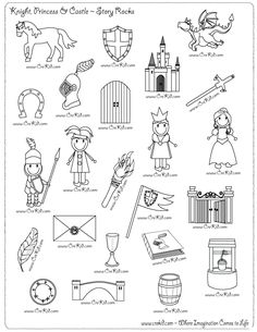 creative kids knights and castles Medieval Crafts, Medieval Art, Medieval Times, Castles Topic, Third Grade Writing, Second Grade, Castle Drawing, Drawing Activities, Story Stones