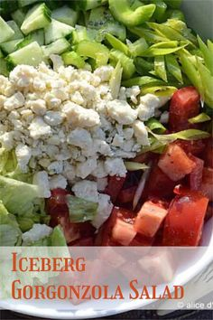 Simple. Fresh. Crisp. Creamy. Healthy. Crunchy. A bite of tang. Yes, this salad's got all those things that make for a perfect meal. #icebergsalad #gorganzola Good Healthy Recipes, Easy Recipes, Breakfast Recipes, Dinner Recipes, Different Salads, Easy Salads, Quick Easy Meals, Family Meals, Crisp