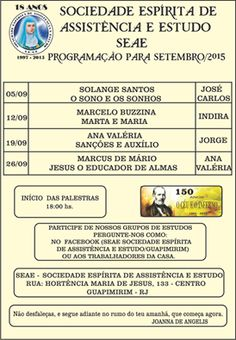 Programação das Palestras Públicas SEAE de Setembro/2015 - Guapimirim - RJ - http://www.agendaespiritabrasil.com.br/2015/09/11/programacao-das-palestras-publicas-seae-de-setembro2015-guapimirim-rj/