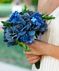 Paper flower and denim wedding bouquet - hydrangea, roses and greenery with matching boutonniere.